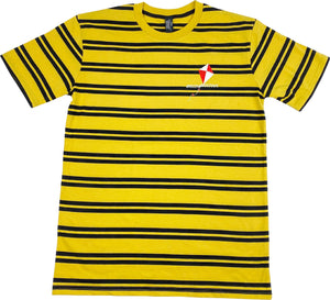Yellow short sleeve t-shirt with black stripes and BreezinBreezout kite left chest