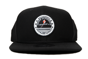 Black snap back baseball cap with IAOA seal center front