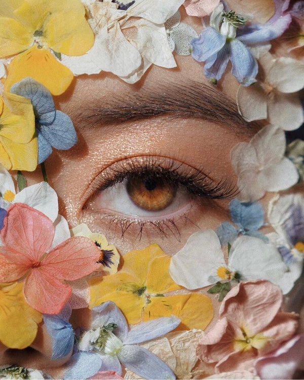 Image of an eye surrounding with flowers
