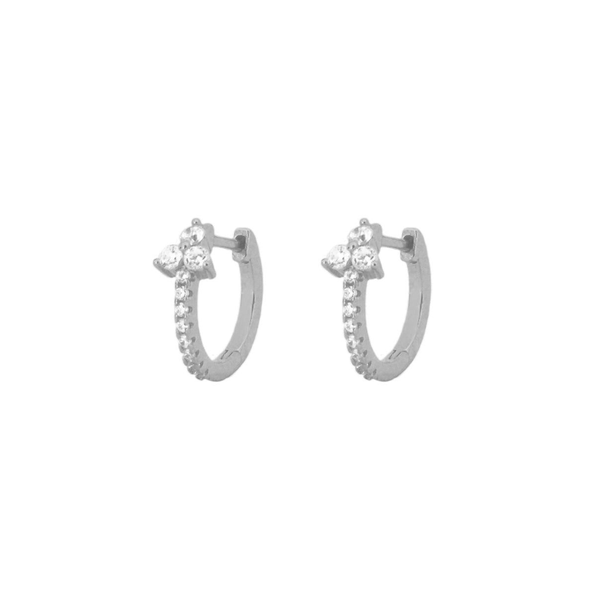 Three zirconia big hoop silver - ByMirelae