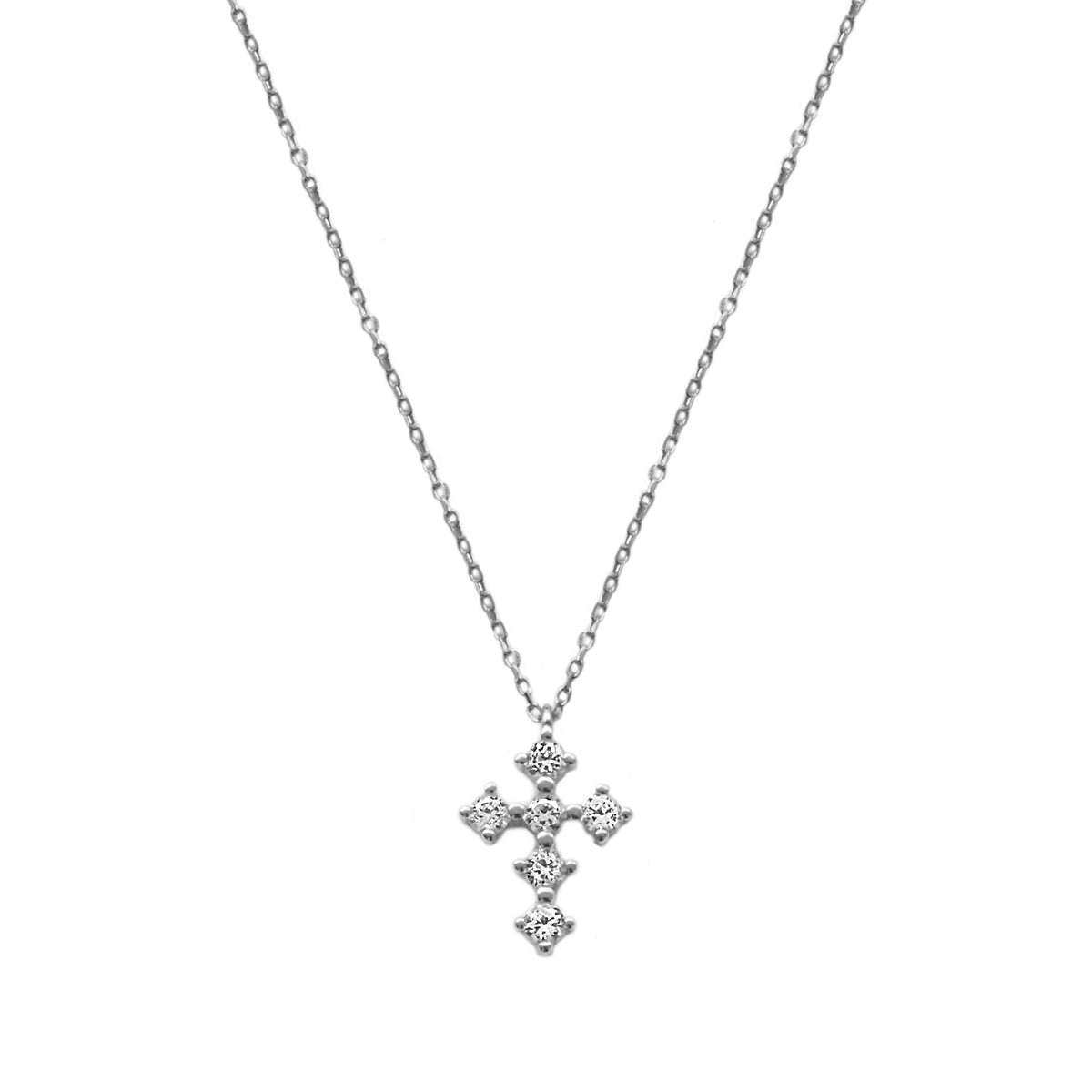 White zirconia cross silver