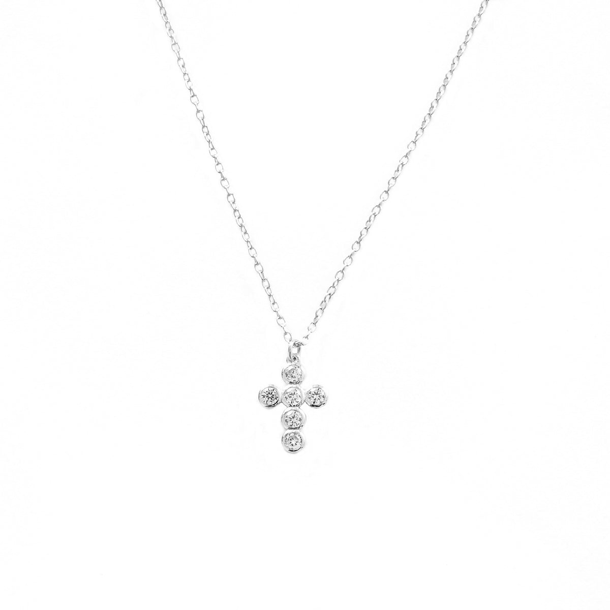 Zirconia cross silver
