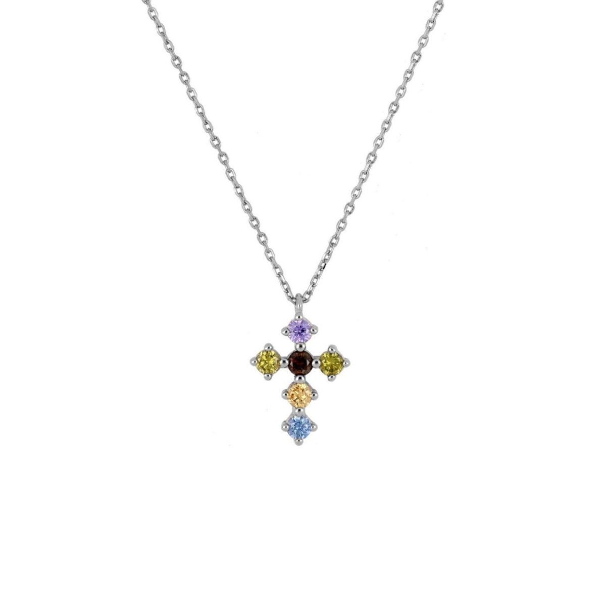 Rainbow zirconia cross silver