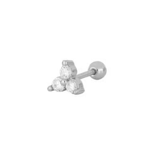 Three zirconia piercing silver - ByMirelae