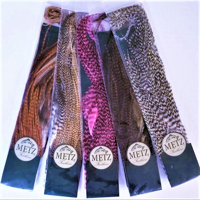 Fly Tying Materials - METZ Barred Rooster Half Saddles