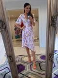 Aideen Pink Abstract Print Ruffle Wrap Dress