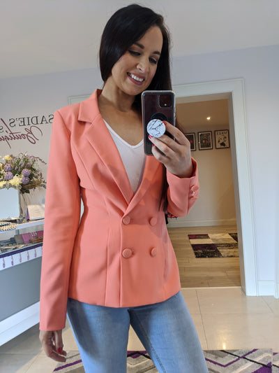 Papaya Double Breasted Blazer
