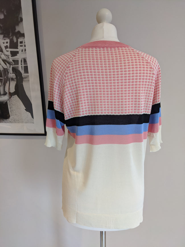 Zara Pink Short Sleeve Striped Top