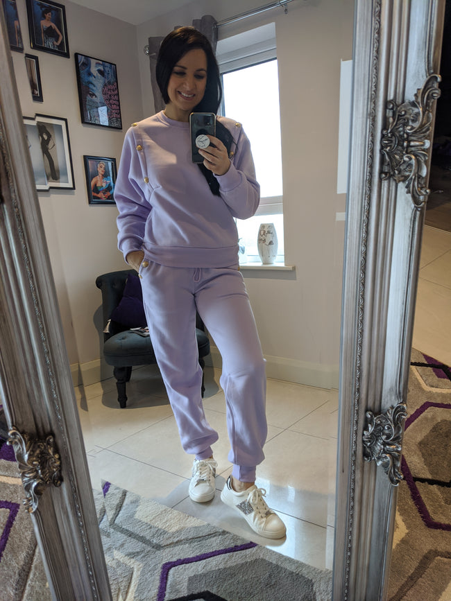 Kyra Button Sweatshirt & Joggers Set- Lilac
