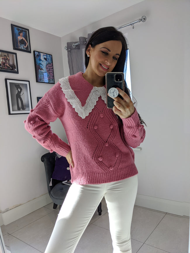 Holly Vintage Style Jumper- Pink