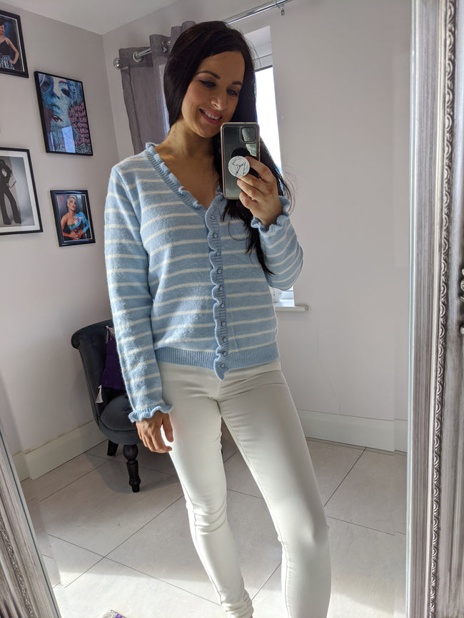 Winnie Stripe Frill Cardigan- Powder Blue