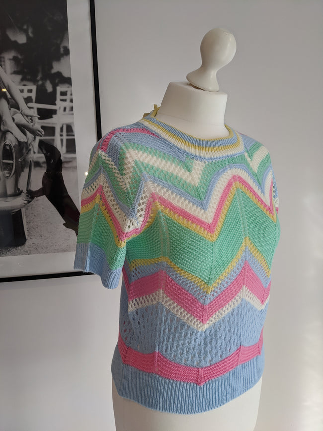 Alice Chevron Knit Top- Blue