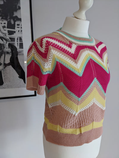 Alice Chevron Knit Top- Pink