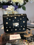 Black Diamante/Pearl Cross Body Shoulder Bag