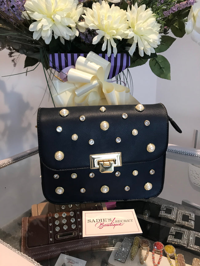 Navy Diamante/Pearl Cross Body Shoulder Bag