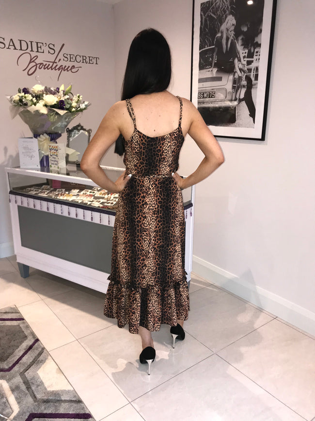 Margot Bronze Cheetah Midi Dress