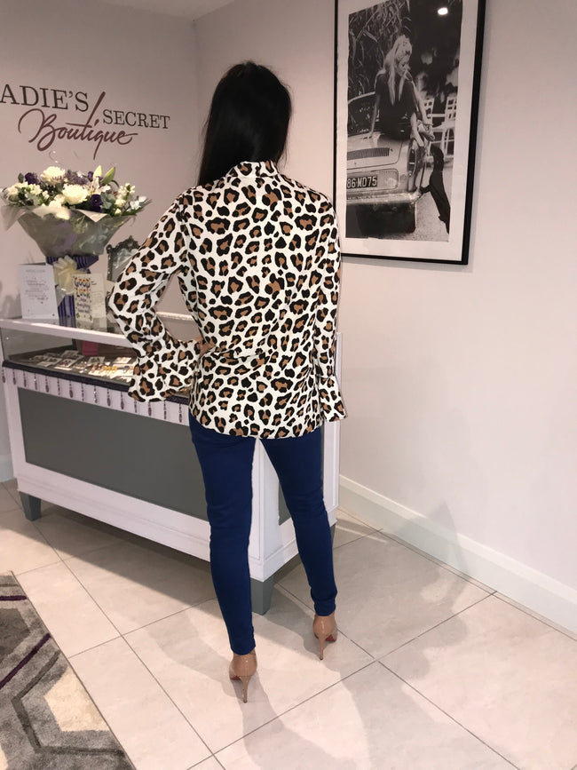 Hudson in Beige Cheetah Blouse