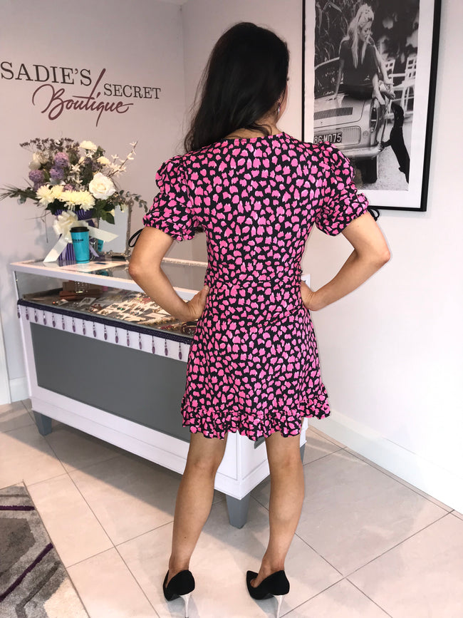 Beth Pink and Black Animal Print Mini Dress