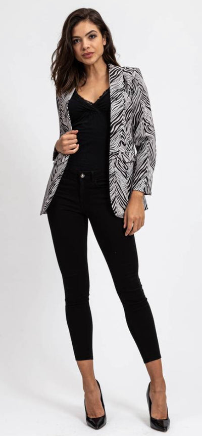 Black And White Zebra Print Blazer Jacket