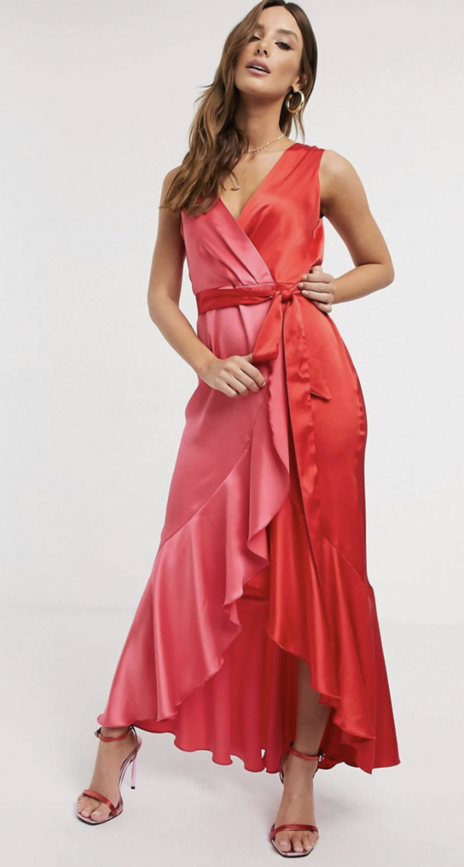 Renee Satin Wrap Front Midaxi Dress
