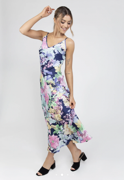 Billie Slip Dress in Floral Blue