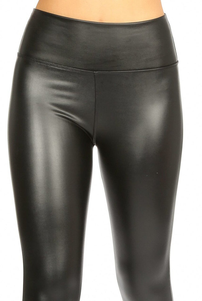 High Waist Sleek PU Leggings - Black