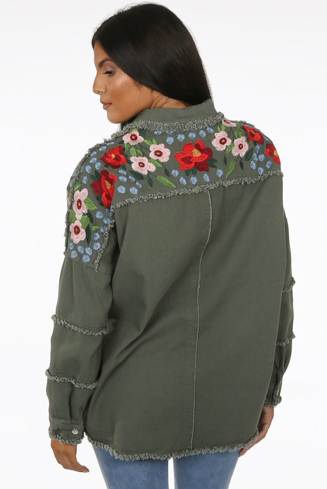 Courtney Embroidery Floral Trim Denim Oversized Jacket