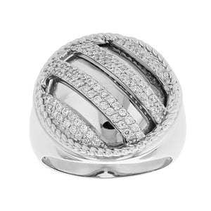 Sterling Silver Striped Ice Ring
