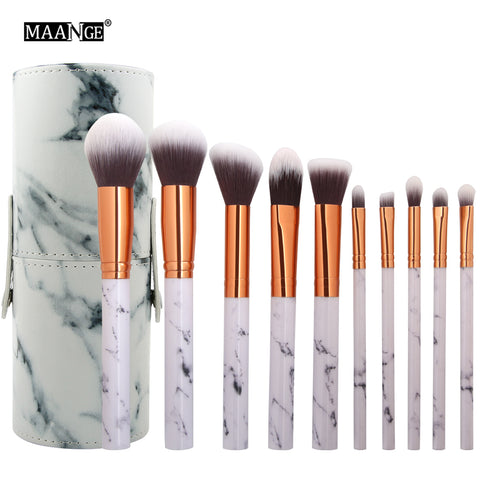 10 PCS Marble Vegan Make Up Brush & Bag