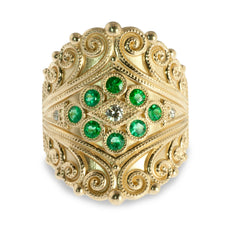 Etruscan Reveal emerald ring