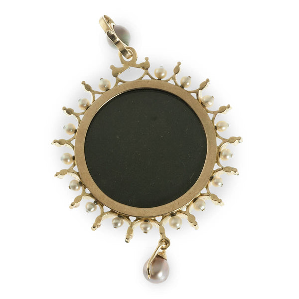 Porcelain cameo, enamel, and natural pearl pendant