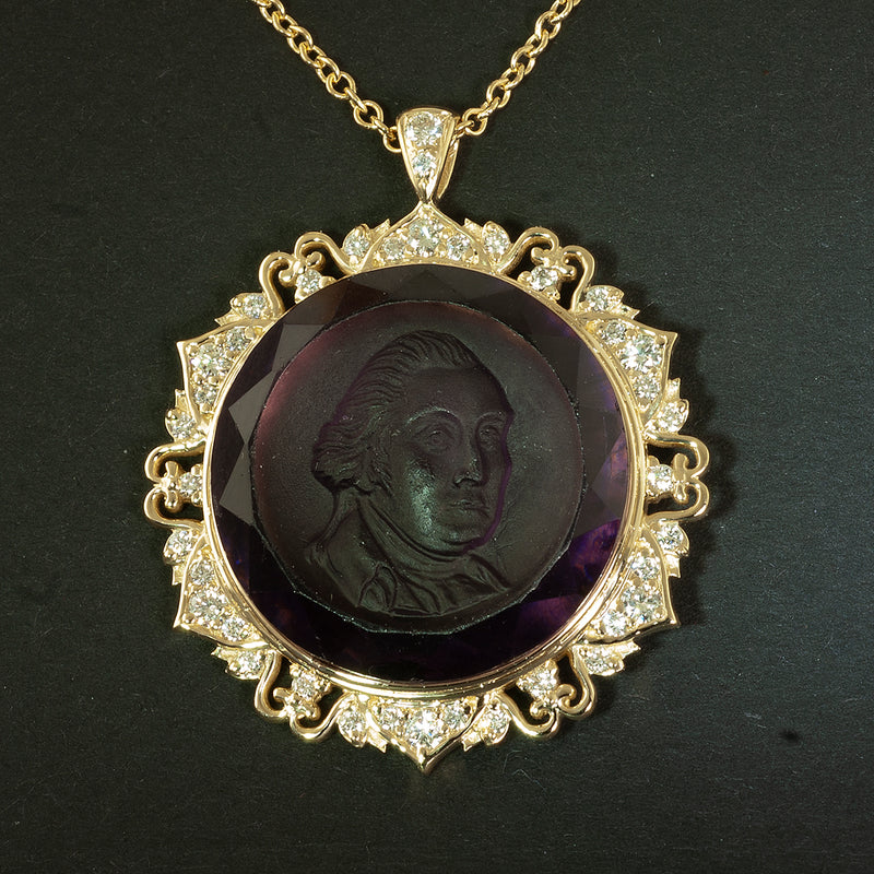 Carved George Washington amethyst cameo pendant