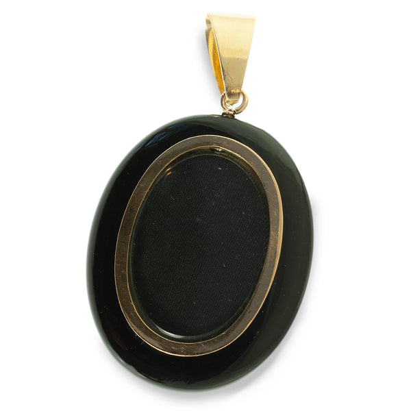 Large Victorian black onyx, pearl and diamond mourning pendant