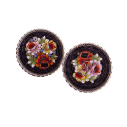 Micro Mosaic Floral Earrings