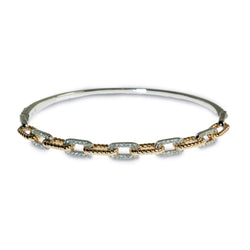 Chain-link diamond two tone hinged bracelet