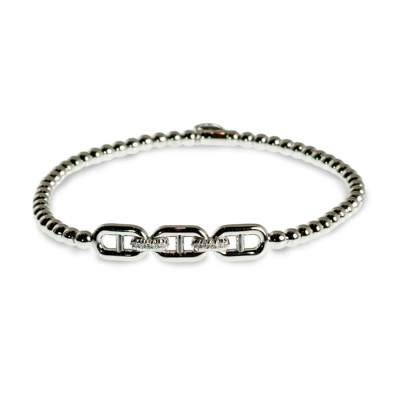 Chain-link diamond set beaded stretchy bracelet