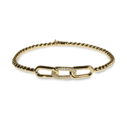 Chain-link diamond pave beaded stretchy bracelet