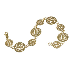 Yellow gold wallpaper link bracelet