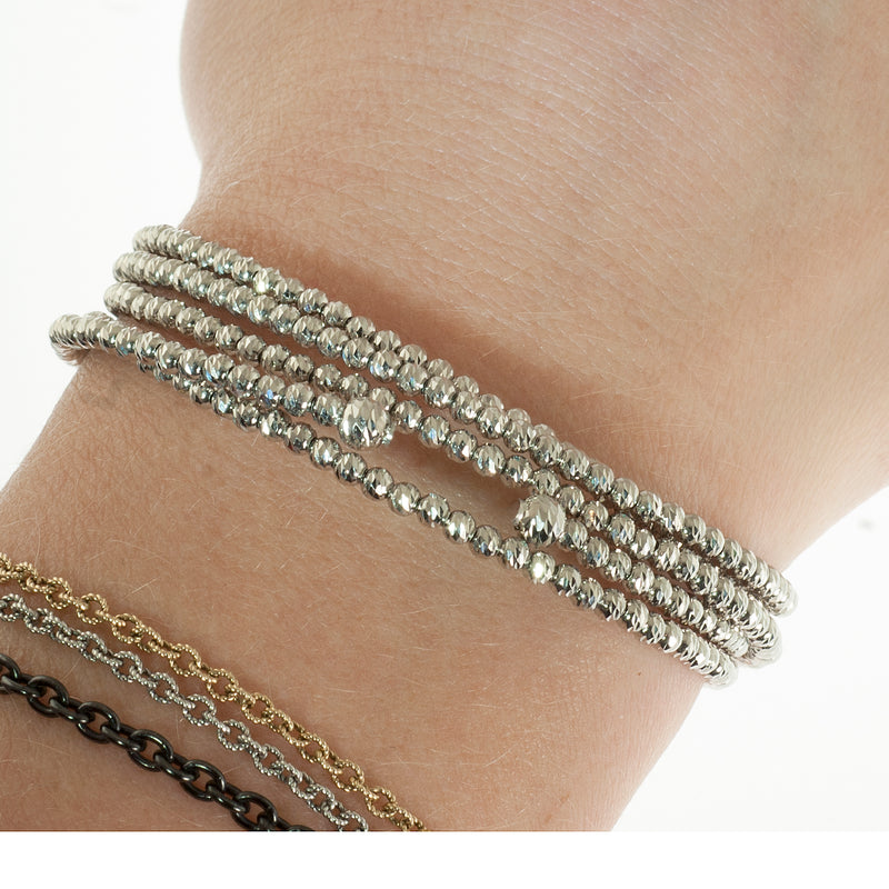 Faceted platinum bead wrap bracelet