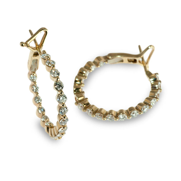 Floating diamond hoop earrings