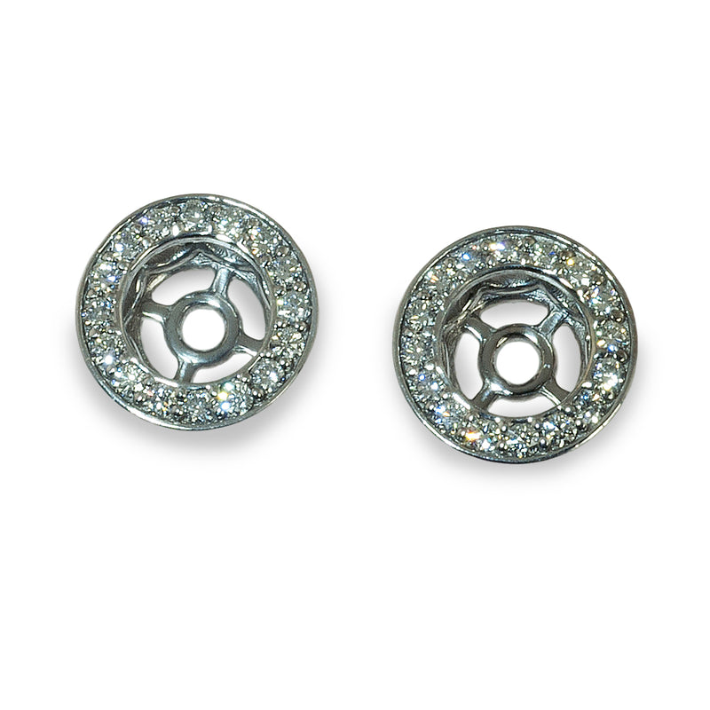 Diamond halo style earring jacket