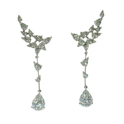 Wing design top delicate drop diamond earrings