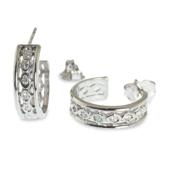 Kiss design diamond small hoop earrings