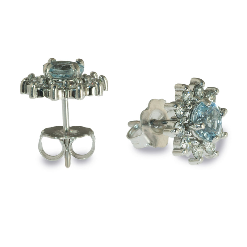 Aquamarine and diamond stud earrings