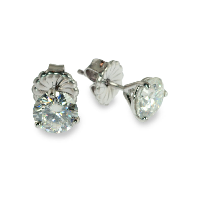 Moissanite 6.5mm martini stud earrings