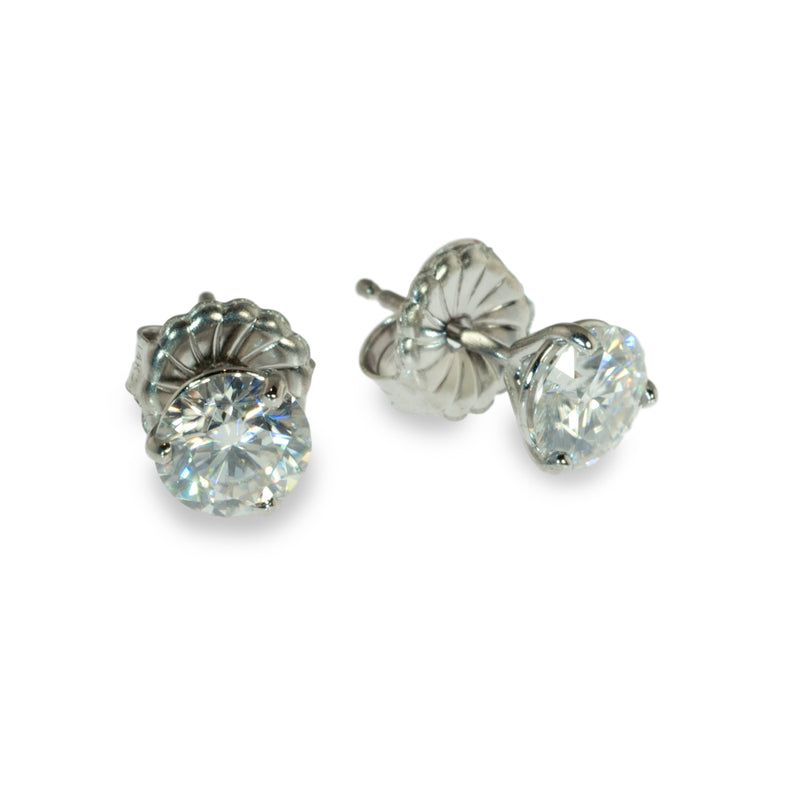 Moissanite 6mm martini stud earrings