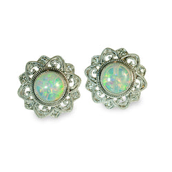 Vintage style opal and diamond button earrings