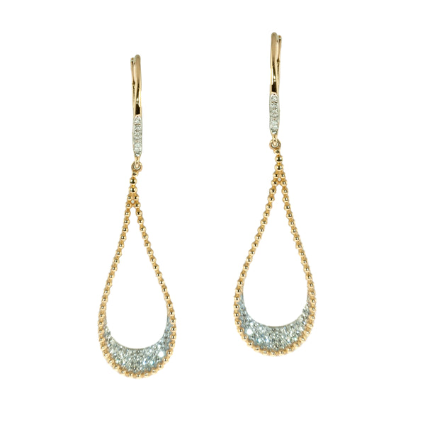 Beaded pave diamond drop earrings