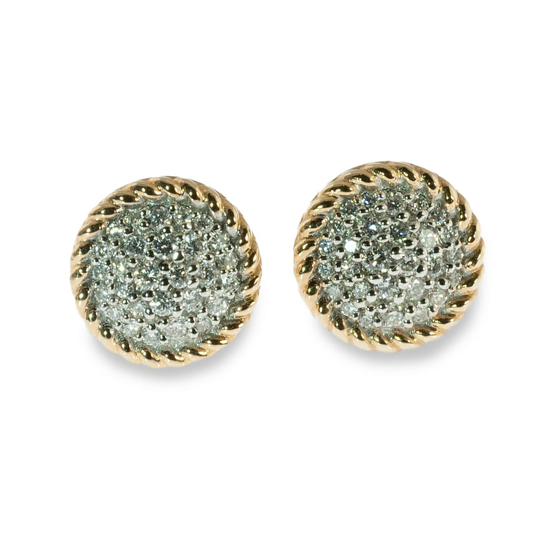 Two tone pave button earrings