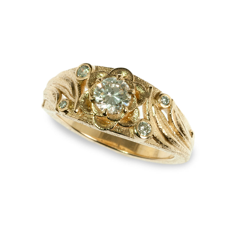 Organic flower diamond band ring
